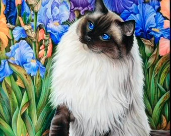 Ragdoll Cat Print Amongst The Irises by Irina Garmashova