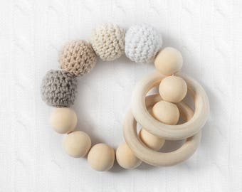 light wood bead teething ring, natural baby teether, wood baby gift, organic baby gift, wood infant toy, beaded baby ring, crochet bead toy