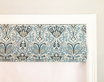 Faux (fake) flat roman shade valance. Your choice of fabric(up to 10 dollars/yd)! Custom Sizing.Magnolia Home Fashions Winchester Ikat Spa