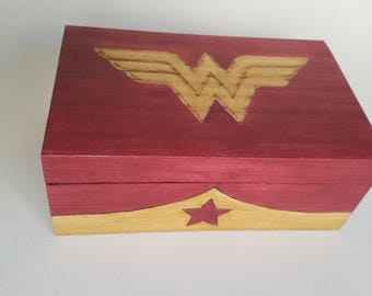 Wonder Woman Woodburned box with magnetic closure