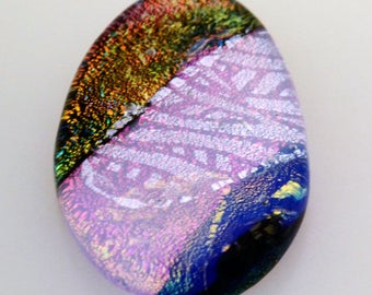 Dichroic Cabochon, Large Cabochon, 28 mm x 44 mm, Wire Wrap Supply, Unique Cabochon, Oval Cab, Jewelry CAB,