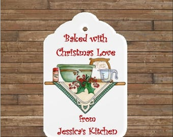 Personalized Christmas Kitchen Tags   Christmas Tags   Christmas Goodies Tags   Kitchen of Tags   Baked with Christmas Love
