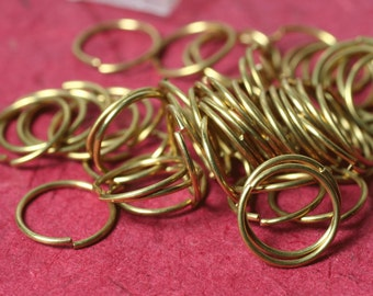 Jump ring solid brass 14mm outer diameter 18g thick, 24 pcs (Item ID JPRB14G18)
