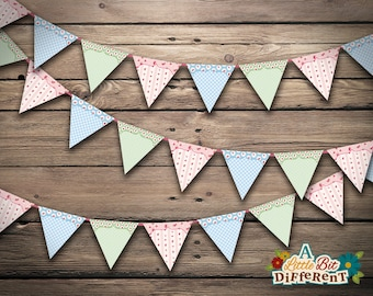 Shabby Chic Paper Bunting - INSTANT DOWNLOAD - printable PDF - Shabby Chic Banner - Digital print - Sign - Birthdays, Weddings, Baby shower