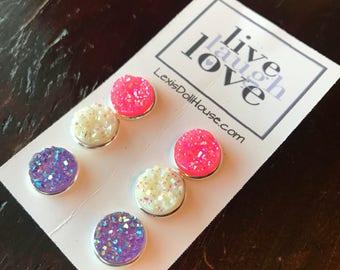 12mm Purple Pink White Lavendar Violet Plum Valentines Day Faux Druzy Stud Earring set translucent shimmer Drusy Stone Cabochon