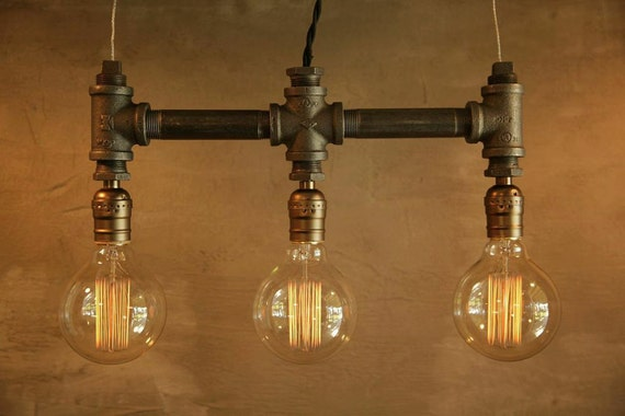3 Bulb - Globe style Edison bulb iron pipe pendant lamp - Urban Industrial style lighting -New york city Loft Style