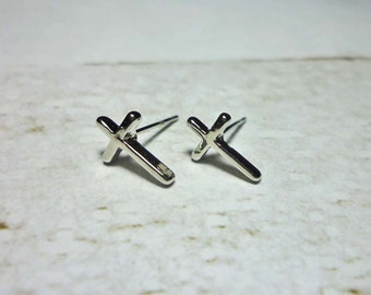 Silver Cross Stud Earrings, Dainty Earrings