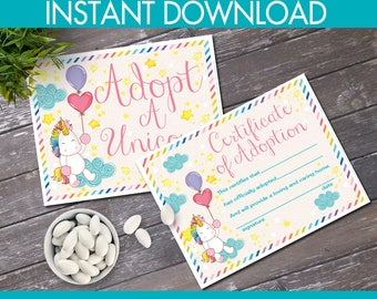 Adopt a Unicorn Certificate & Sign - Unicorn Birthday Party, Magical Unicorn, Rainbow | INSTANT Download PDFs