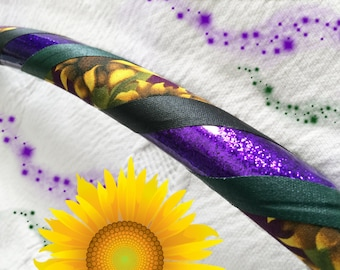 Purple Sunflower Dance & Exercise Hula Hoop COLLAPSIBLE Push button - orchid glitter green