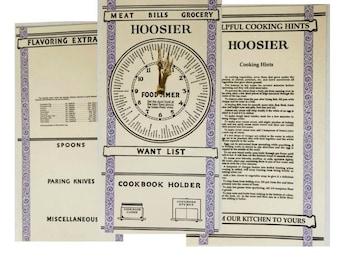 Hoosier Kitchen Cabinet Door Cards - Reproduction of original antique ones. Set of Three  sc 1 st  Etsy & Hoosier reproduction | Etsy