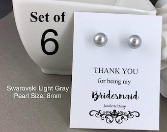 Set of 6 Bridesmaid Earrings Stud Earrings Bridesmaid Flower Gir Junior Bridesmaid Sterling Silver Earrings Mother of Groom Mother of Bride