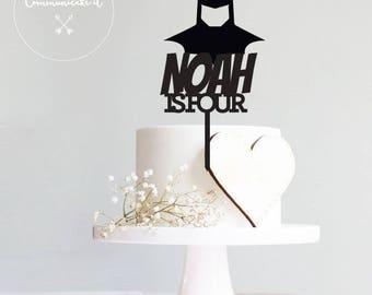 Happy birthday, boys, Name on cake, cake topper,batman