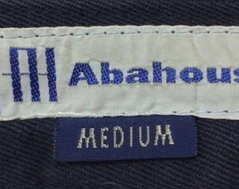 Vintage 90s ABAHOUSE khakis buckle back blue black colour Made In Japan