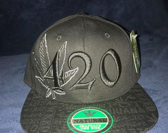 Quality premium headwear decorated with weed leaf