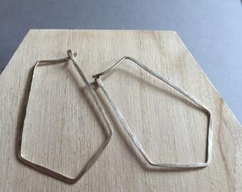 Sterling Silver Geometric Hoop earrings. Hammered Hoops. Geometric silver