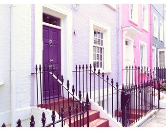 Chelsea houses, London photography, London art print, travel photography, fine art photography, pastel wall art, purple, pink wall art