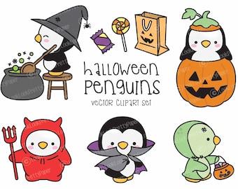 Premium Vector Clipart - Kawaii Halloween Penguins - Cute Halloween Penguins Clipart Set - High Quality Vectors - Kawaii Halloween Clipart