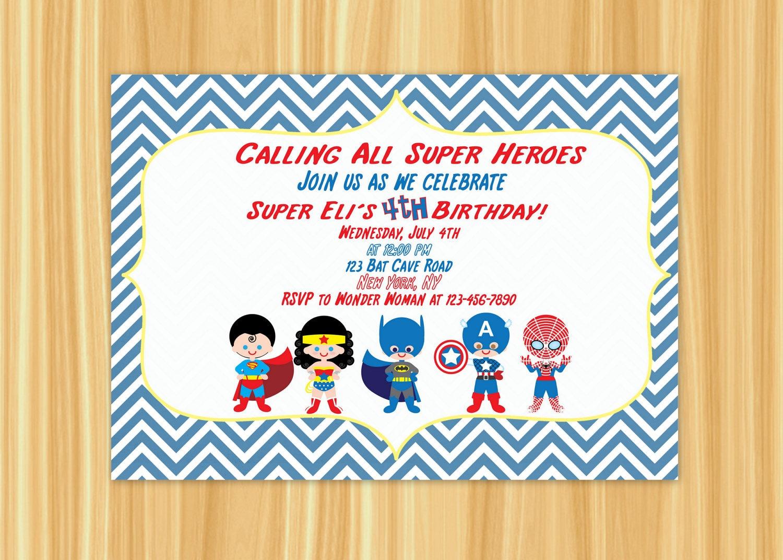 Super Hero Invitation Super Hero Birthday Party Super Hero