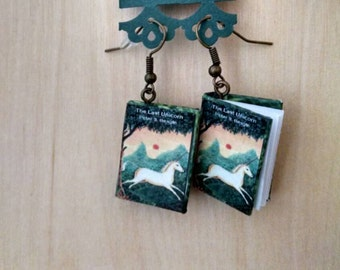 Mini The Last Unicorn Earrings - Book Jewelry- Handmade The Last Unicorn Book Earrings - Mini Book Jewelry - Handmade Mini Book Earrings