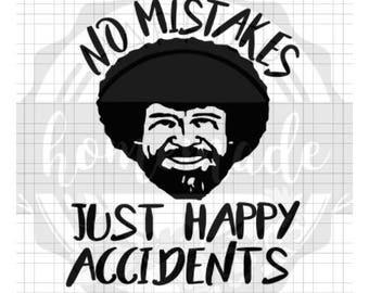 Instant Pot Decal - Bob Ross - No Mistakes Just Happy Accidents - Black Vinyl