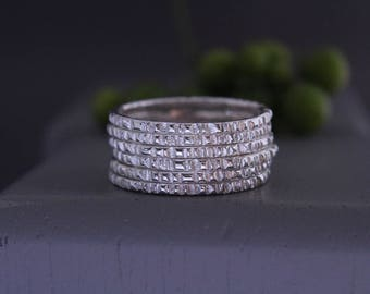 Set of 6 sterling silver stacking rings.Stackable rings.Stack rings.Sterling silver rings.Thin band rings.Silver rings.Set of rings.