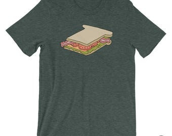 Sandwich, T shirt, Illustration, BLT, Drawing, Bacon, Lettuce, Tomato, Food Drawing, Casual Graphic T, Teeshirt