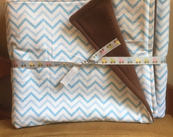 Blue and White Chevron Flannel With Brown Fleece Back Baby Blanket