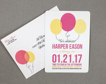 Pink and Yellow Modern Balloon First Birthday Party Invitation with Envelopes // DIY Printable Balloon 1st Birthday Invite - TE - TE1