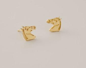 Gold Horse Earrings, Pony Earrings, Girl's Earrings, Children's Earrings, Tiny Horse Post Earrings, Dainty Stud Earrings, Horse Lover Gift