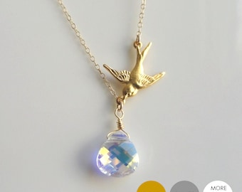 Flying Sparrow Crystal Necklace- Gold Bird Necklace- Swarovski Crystal Necklace- Silver Swallow Necklace- NGS-BI2