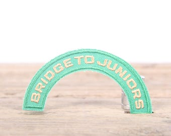 Vintage Girl Scout Patch / 1970's-80's Scout Patch / Green Yellow Bridge To Juniors Patch / Old Stock Scout Patch / Scout Badge