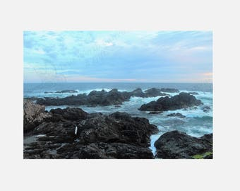"Ocean, Rocks, Waves, Sunset, Fine Art Prints ""Rocky Shores"" Original Photography"