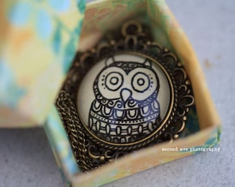 Owl Necklace Forest Animal Art Floral Design Henna Mehndi Vintage Style Hand Drawn Handmade Jewelry Wisdom Mysticism Symbolism