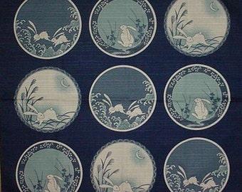 Japan Fabric Rabbit Furoshiki 'Rabbits on Blue Plates' Blue Cotton Square w/Free Insured Shipping