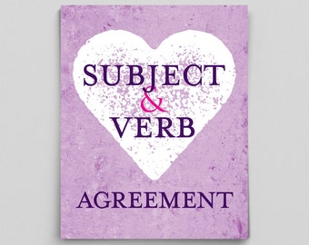 Grammar Print Subject & Verb Agreement Perfect English Gifts for Teachers Purple Typographic Print English Gifts Gag Gift Office Decor