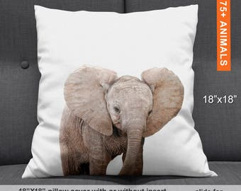 Elephant Gifts for Baby Shower, Elephant Throw Pillow, Elephant Gifts Baby, Elephant Cushion, Elephant Kids Gift, Elephant Pillow Baby 18x18