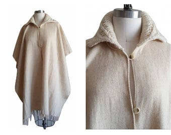 Wool Poncho Wrap • Vintage 80s Woven Blanket Coat with fringe • Cape Shawl