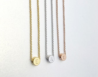 Rose gold ,Circle Initial  Charm Necklace  - Gold/Silver plated Jewelry, Custom Necklace, Engraved Necklace,Initial charm,initial necklace