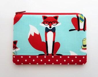 Fox fabric coin purse - red wallet pouch - zipper coin purse wallet - cute gift ideas - patchwork pouch bag - girls purses