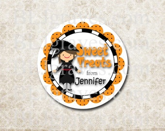 Personalized Halloween Stickers Sweet Treats Witch Stickers Party Favor Treat Bag Stickers SH023
