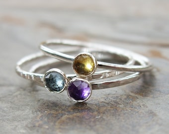 Set of Three Tiny Gemstone Stacking Rings in Sterling Silver - Super Thin Micro Band, Smooth, Hammered - Birthstone or Mother's Ring Set