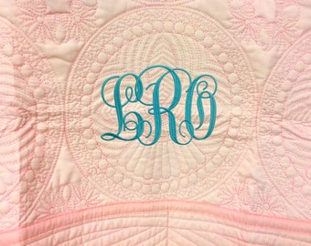 Monogrammed Baby Quilt - Custom Baby Quilt - Baby Blanket - Embroidered Quilt - Baby Girl Quilt - Baby Gift - Lap Quilt - Pink Baby Quilt