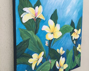 Floral Tropical Original Acrylic Painting: Dreaming of Hawaii