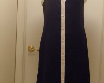 Vintage 1960s/70s Navy Blue and White Sleeveless Dress Mod