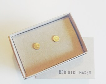 Mini Geo Hammered Brass Circle Stud Earrings