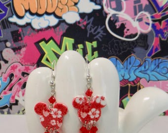 Mickey Mouse Red Hawaiian Hibiscus Double Sided Print Dangle Earrings