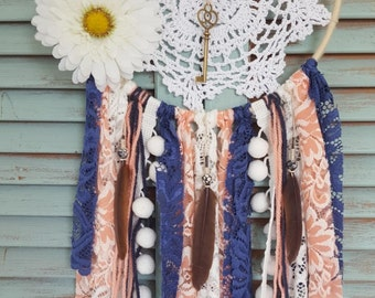 Navy and Coral Bohemian Dream Catcher