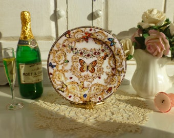 Dollhouse Miniature Plate Pink Le Jardin Butterfly & Handmade designs for dollhouse miniatures by Twelvetimesmoreteeny