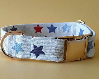 Red, White, & Blue Stars Buckle Dog Collar