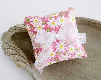 Set of Three Petite Lavender Sachets, Pink & White Daisies, Little Girl Sachets